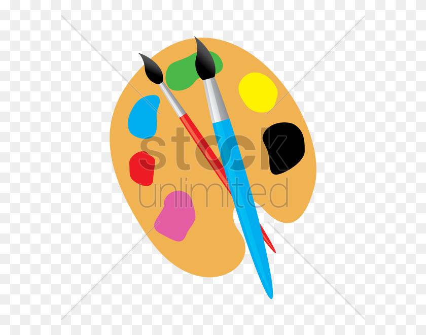 600x600 Art Palette With Paint Brush Vector Image - Artist Palette Clipart