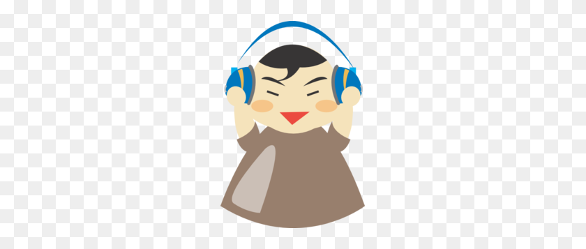 207x297 Asian Boy With Headphones Clip Art - Asian Boy Clipart