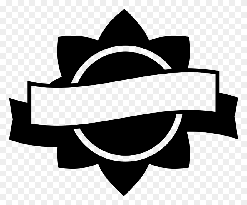Award Label Of Circular Flower Shape With A Banner Png Icon - Banner Shape PNG