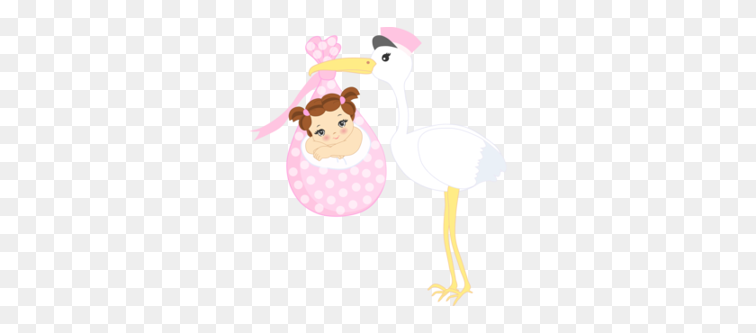 Baby Stork Girls - Stork And Baby Clipart