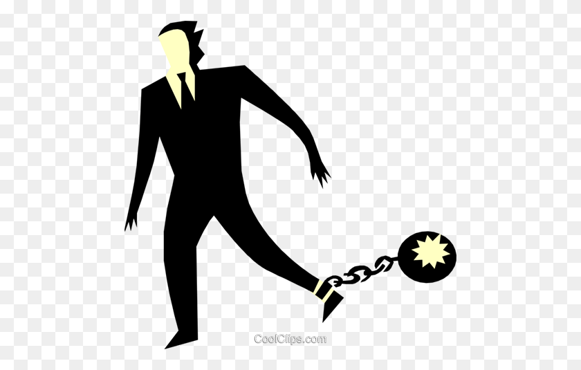 Ball And Chain Royalty Free Vector Clip Art Illustration - Ball And Chain Clipart