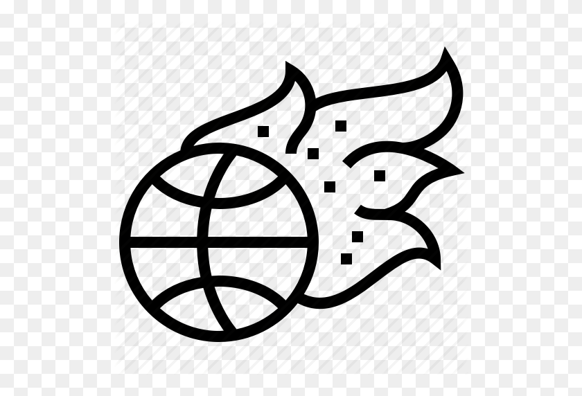 Ball, Basketball, Fire, Flaming, Sport Icon - Flaming Basketball Clipart