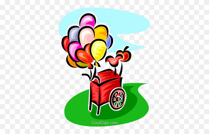 367x480 Balloon Cart Royalty Free Vector Clip Art Illustration - Up Balloons Clipart