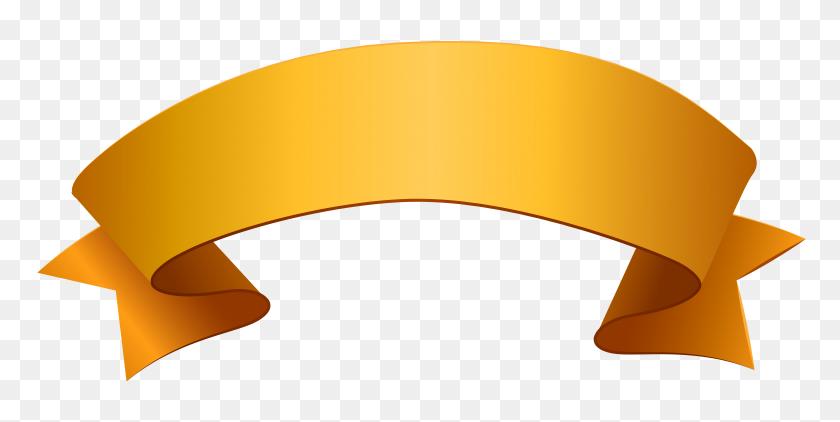 Banner Orange Ribbon Clip Art Gold Ribbons Transprent - Ribbon Banner Clipart