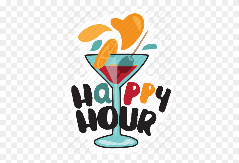 Bar, Cocktail, Drink, Happy Hour, Restaurant, Sticker Icon - Happy Hour Clip Art