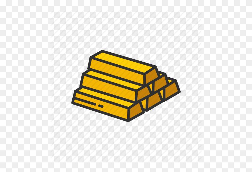 Bars Of Gold, Brick Of Gold, Gold, Gold Bar Icon - Gold Bar PNG