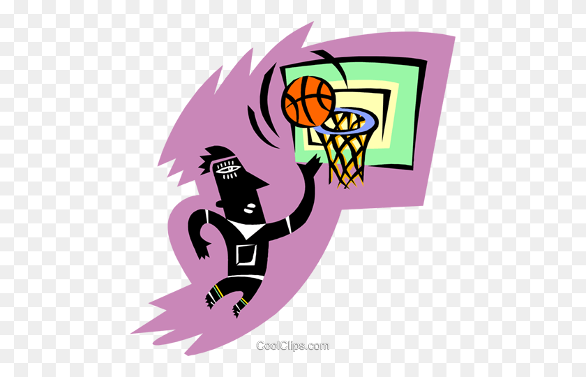 Basketball Player Royalty Free Vector Clip Art Illustration - Basketball And Hoop Clipart