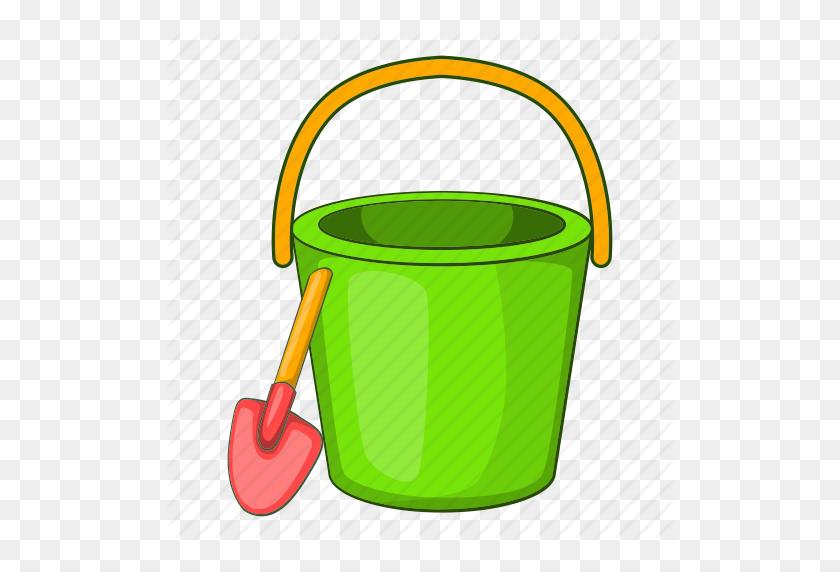 Beach, Bucket, Cartoon, Pail, Sand, Shovel, Toy Icon - Pail And Shovel Clipart