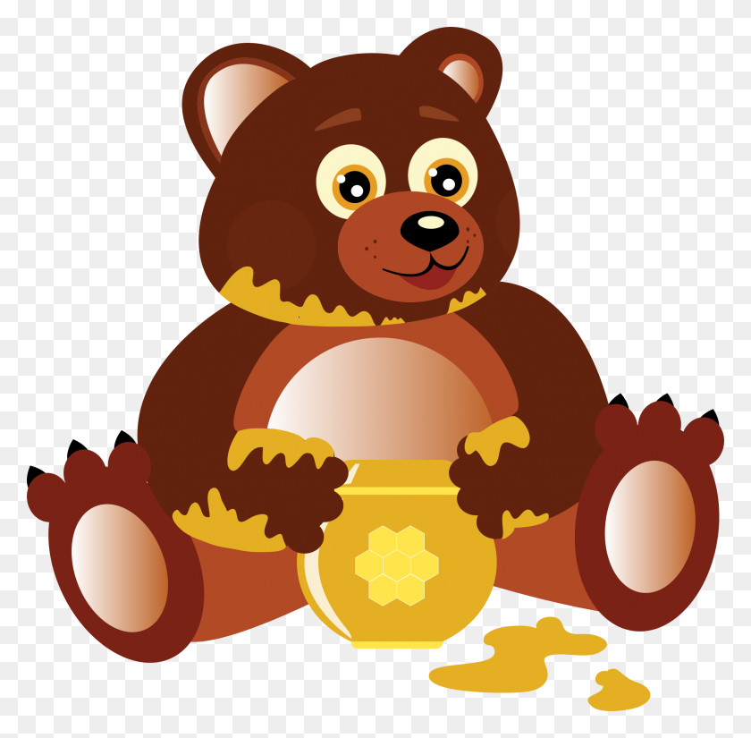 Bear Clipart Eating Honey - Woodland Bear Clipart