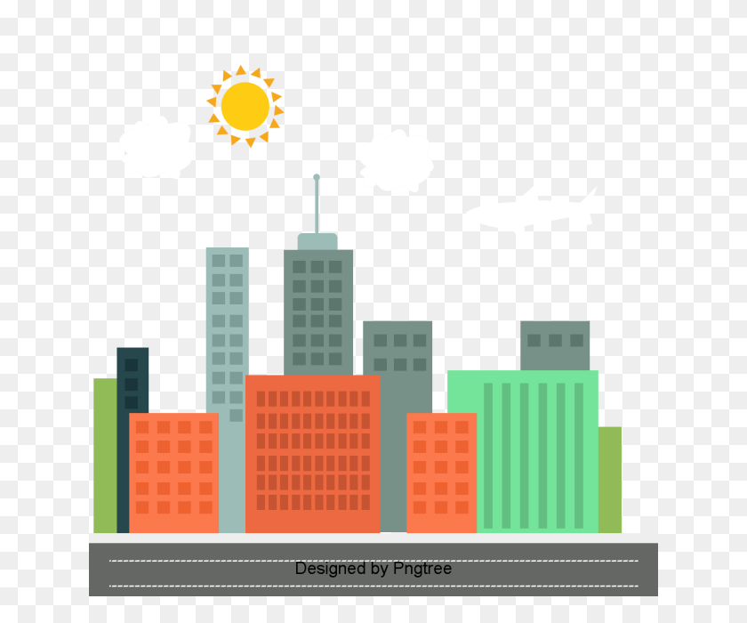 Beautiful Cartoon Lovely Flat Hand Painted City Building - City Building PNG