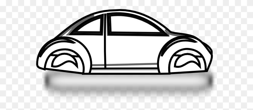 600x305 Beetle Car Outline Clip Art - Cop Car Clipart