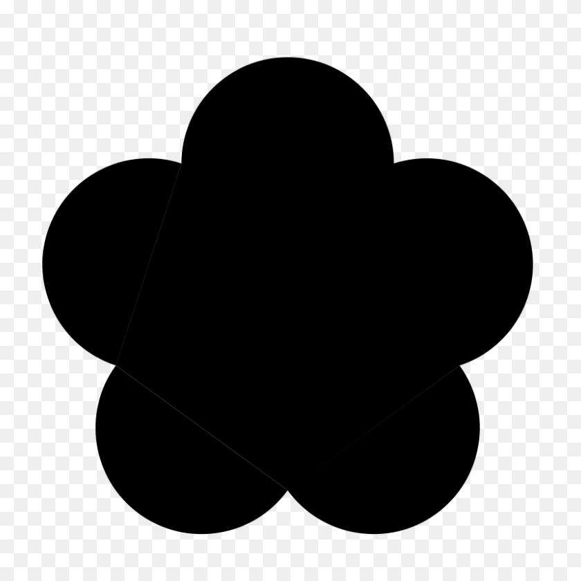 Big Black Five Petal Flower Clip Art Download - Petal Clipart