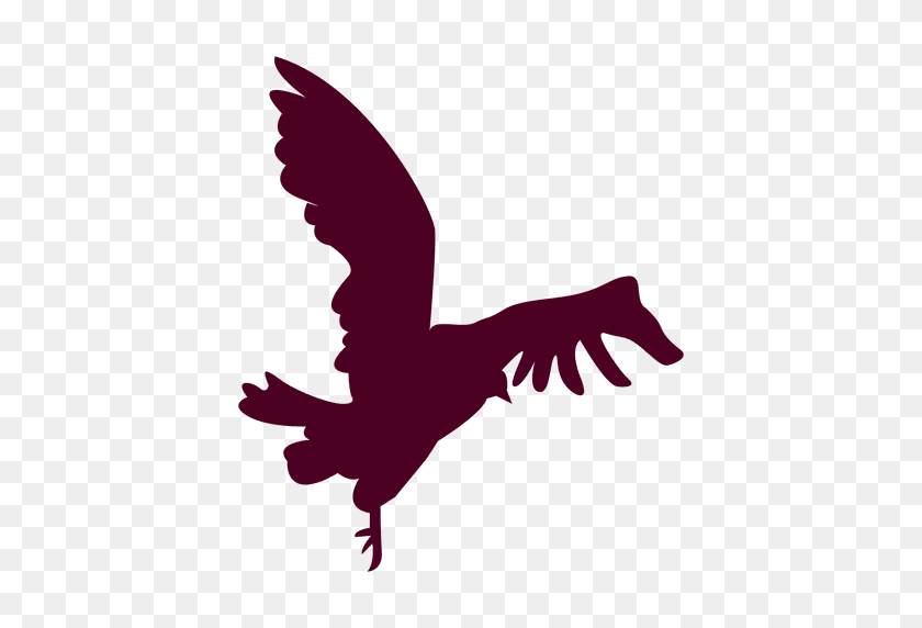 Bird Flying Close To Landing Silhouette - Birds Silhouette PNG