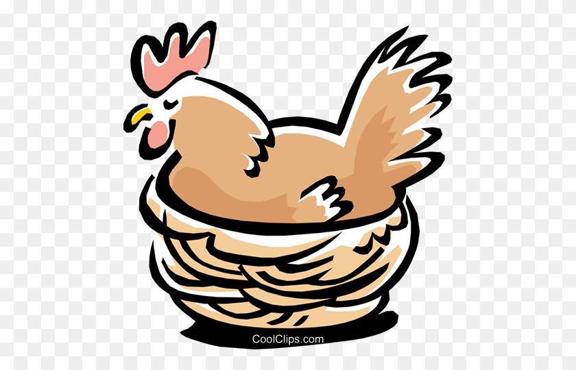 Bird Hen Royalty Free Vector Clip Art Illustration - Bird Nest Clipart