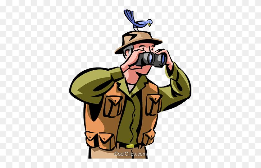 Bird Watching Royalty Free Vector Clip Art Illustration - Bird Watching Clipart