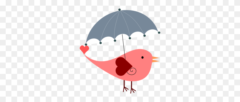 Bird With Umbrella Clip Art - Cute Bird Clipart