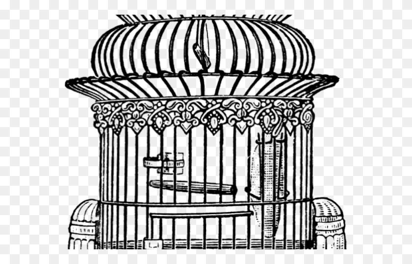 Birdcage Clipart Open Door - Bird Cage Clipart