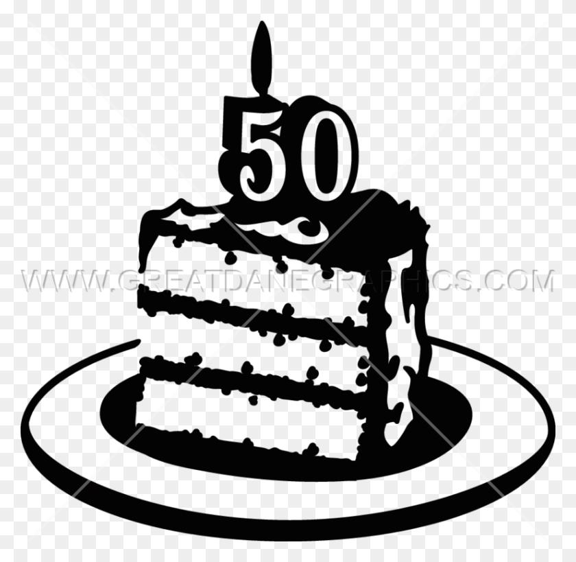 Birthday Cake Production Ready Artwork For T Shirt Printing - 50th Birthday Clip Art