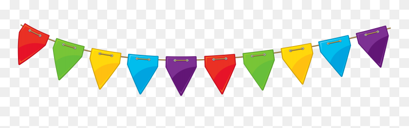 7769x2040 Birthday Clipart Streamer - Free Confetti Clip Art
