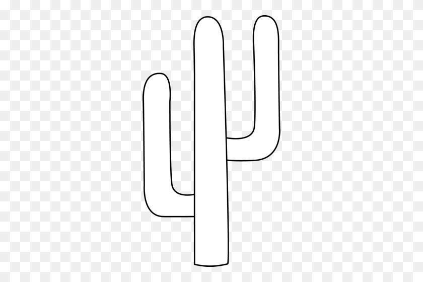 274x500 Black And White Cactus Clip Art - Cute Cactus Clipart