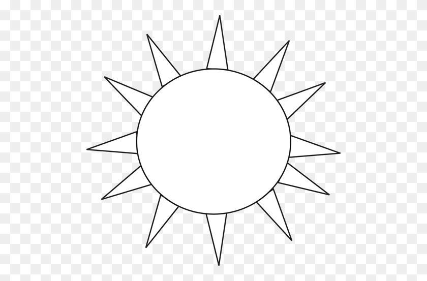 500x493 Black And White Sun For Letter S Clip Art - S Clipart