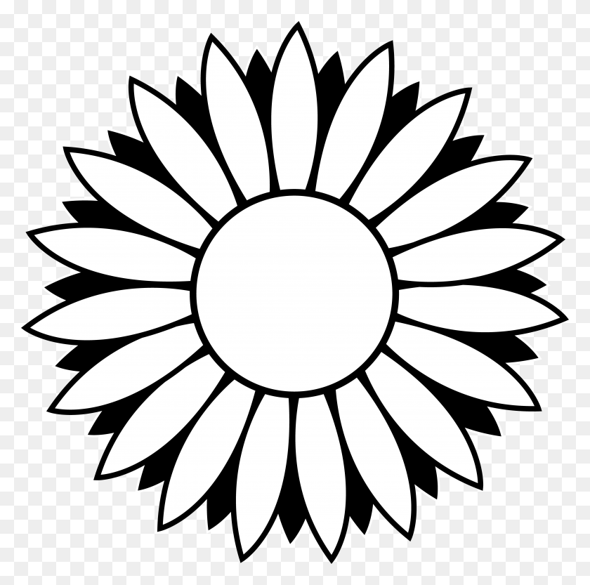 5137x5092 Black And White Sunflower Clipart - Lotus Flower Images Clipart