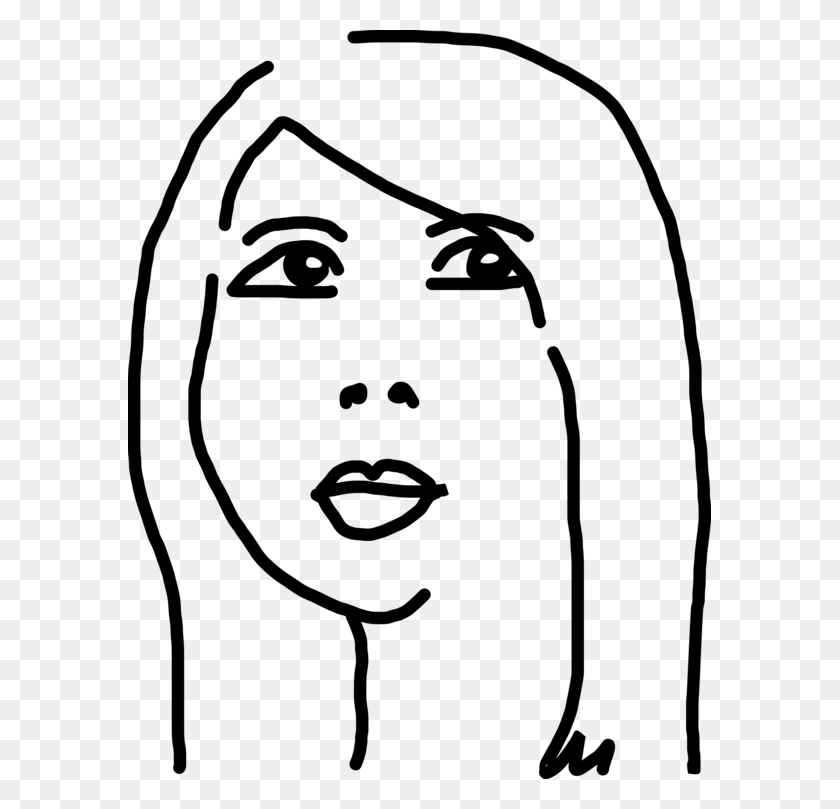 583x749 Black And White Woman Drawing Face Cartoon - Woman Clipart Black And White