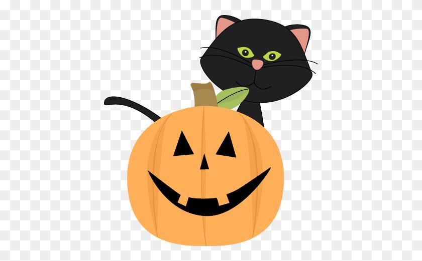Black Cat Behind Jack O Lantern Clip Art - Jack O Lantern Face Clipart