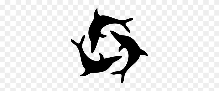 Black Dolphin Triad Clip Art - Marine Biologist Clipart