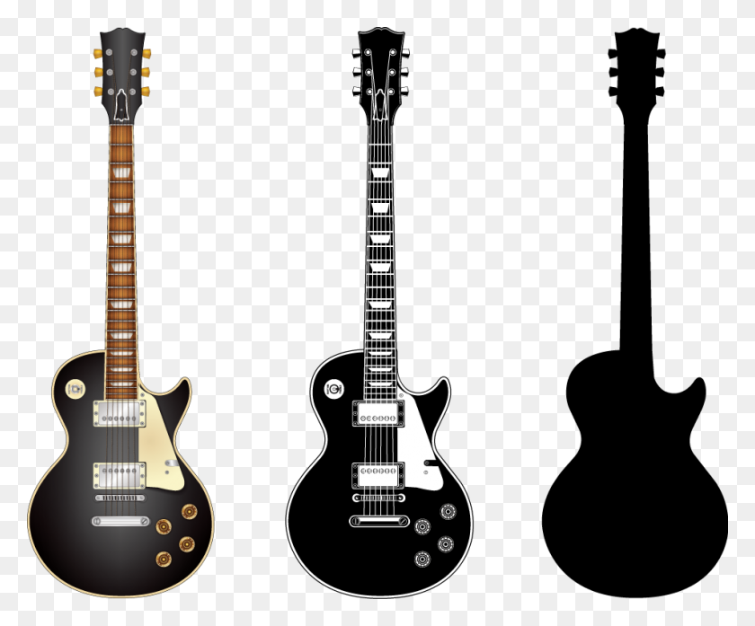 Black Electric Guitar - Electric Guitar Clipart Black And White