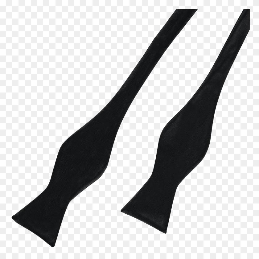Black Silk Bow Tie Self Tie Yardsmen - Bow Tie PNG