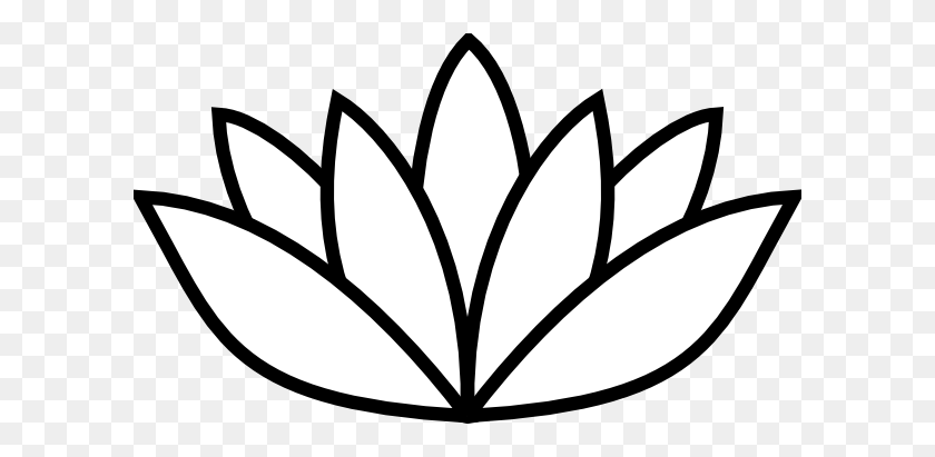 600x351 Black Thick Lotus Clip Art - Lotus PNG