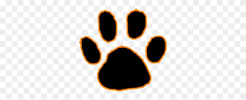 Black Tiger Paw Print With Orange Outline Clip Art - Panther