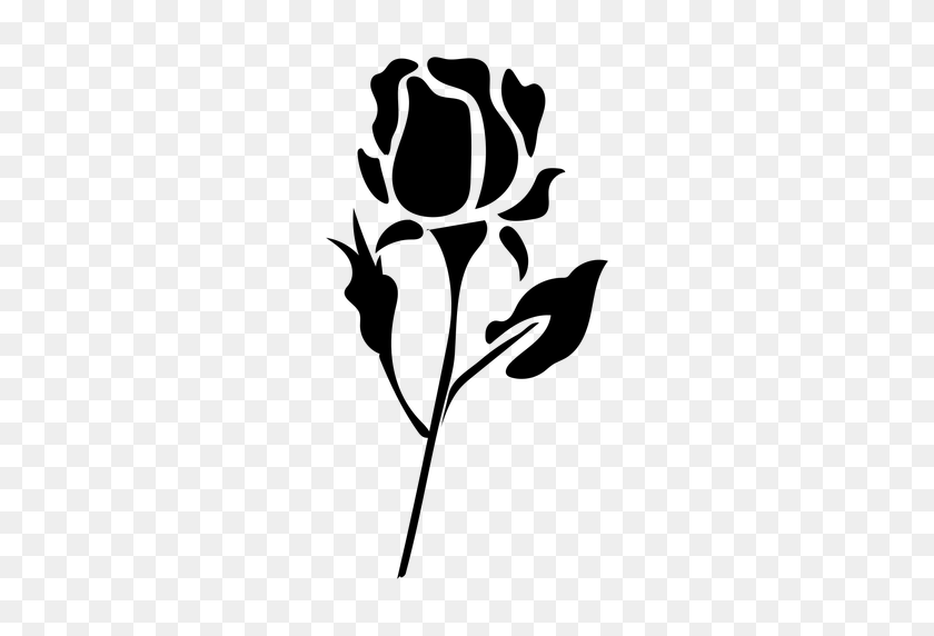 Blooming Rose Flat Icon Flower - Rose Silhouette PNG