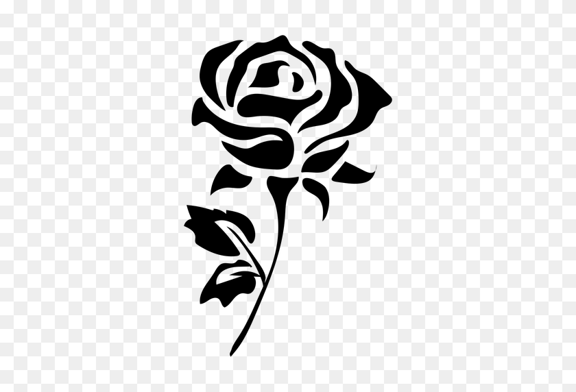 Blooming Rose Stem Flat Icon Flower - Flower Stem PNG