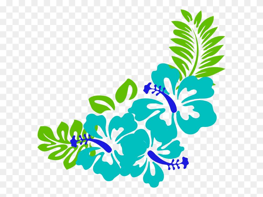Blue Green Tropical Flowers Clip Art - Tropical Border Clipart