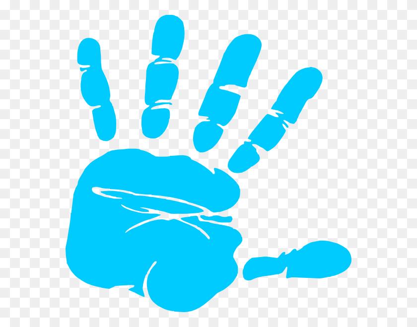 576x599 Blue Hand Print Clip Art - Free Clipart To Print