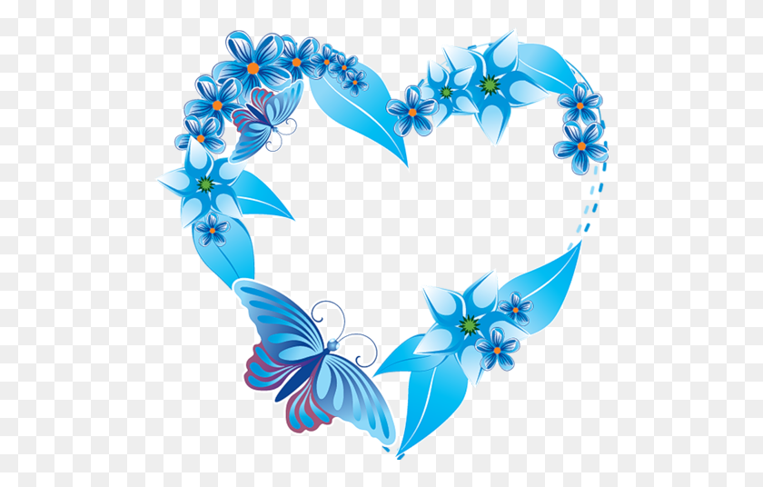 Blue Heart And Butterfly Jamboree Heart, Heart - Hearts And Flowers Clipart