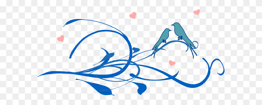 Blue Love Birds On A Branch Clip Art - Love Birds Clipart