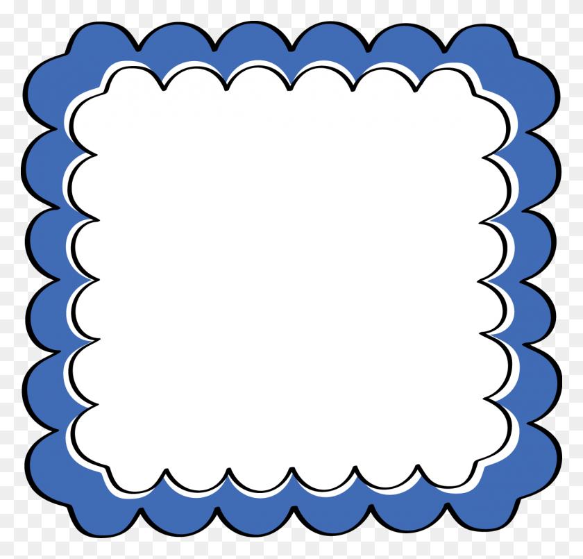 Blue Scalloped Frame Free Clip Art Frames, Paper Plate Panda - Paper Plate Clipart