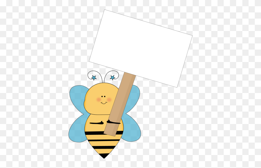 Blue Star Bee Holding A Blank Sign Clip Art - Peter Rabbit Clipart