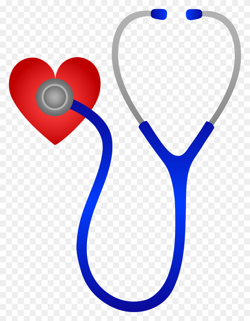4809x6271 Blue Stethoscope And Red Heart - Rx Clipart