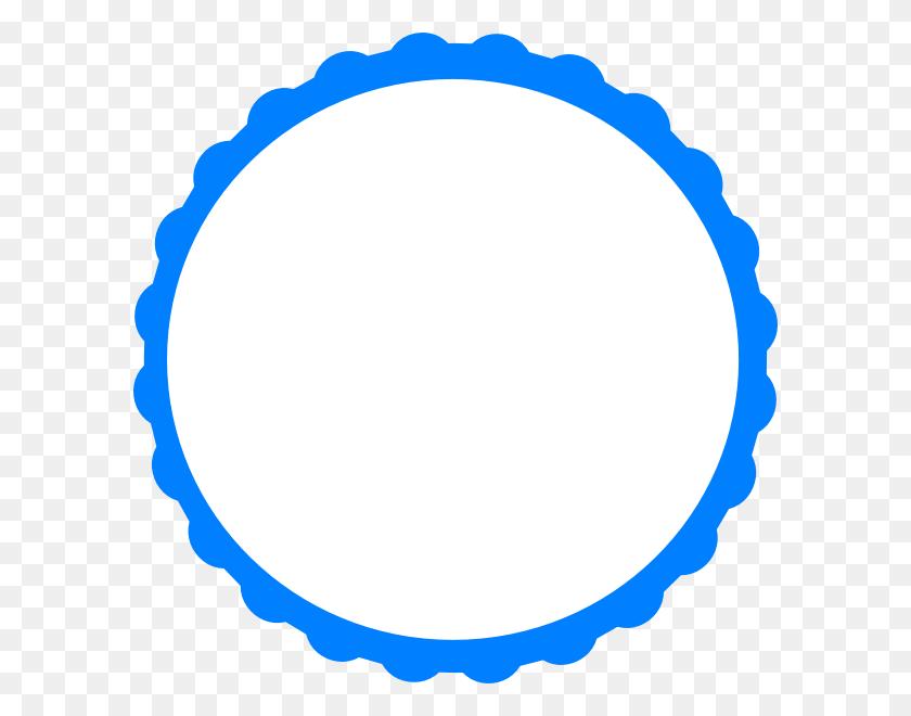 Blue White Scallop Circle Frame Clip Art - Circle Frame Clipart