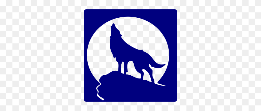 300x298 Blue Wolf Silhouette To The Moon Png, Clip Art For Web - Moon PNG