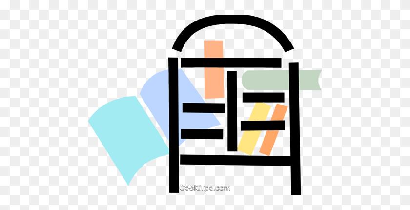 Bookshelves Royalty Free Vector Clip Art Illustration - Bookshelf Clipart
