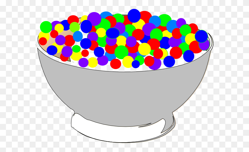 Bowl Of Colorful Cereal Clip Art - Cereal Bowl Clipart
