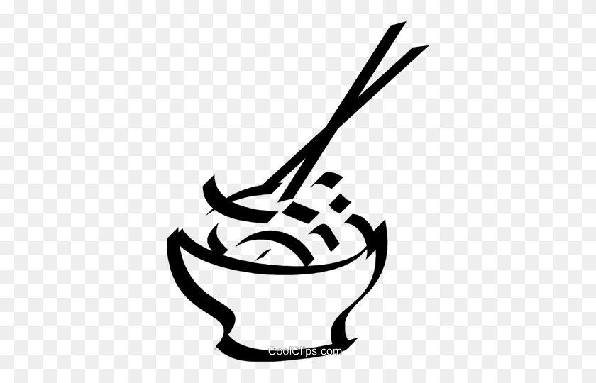 Bowl Of Rice And Chop Sticks Royalty Free Vector Clip Art - Rice Bowl Clipart