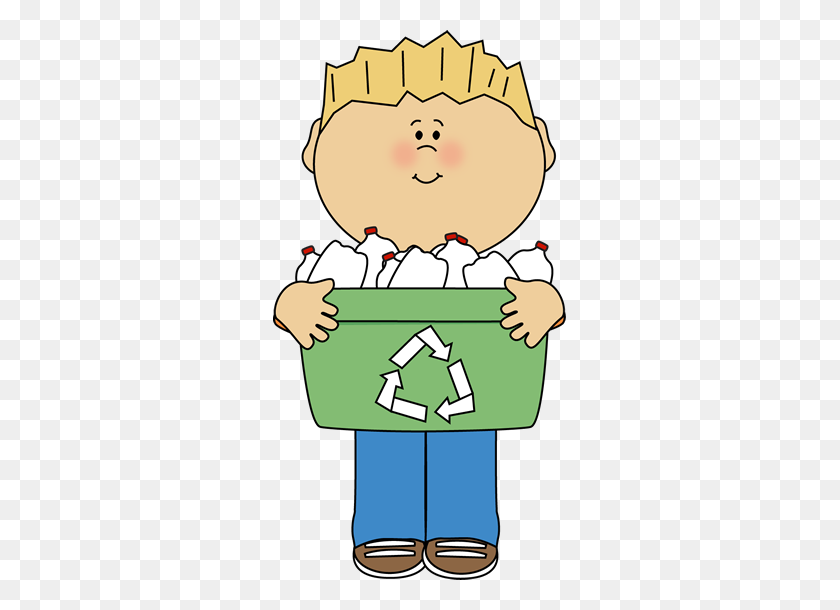 Boy Carrying A Recyle Bin Clip Art - Science Class Clipart