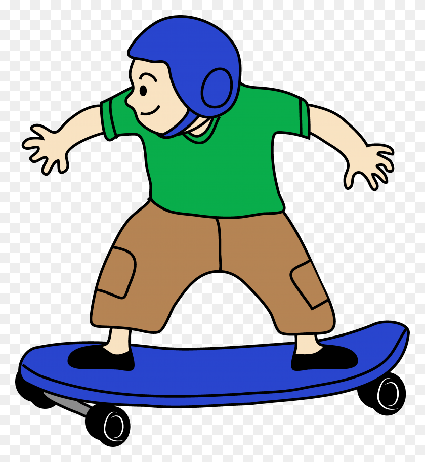 Boy Clipart Skateboarding - Riding Mower Clipart