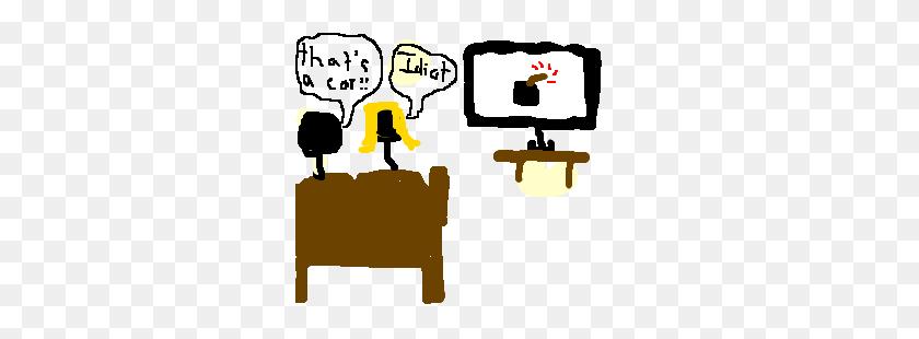 Boy Girl Watching Tv, Boy Mistaking Bomb Car Drawing - Boy Watching Tv Clipart
